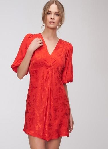 People By Fabrika Jakarlı Elbise Kırmızı